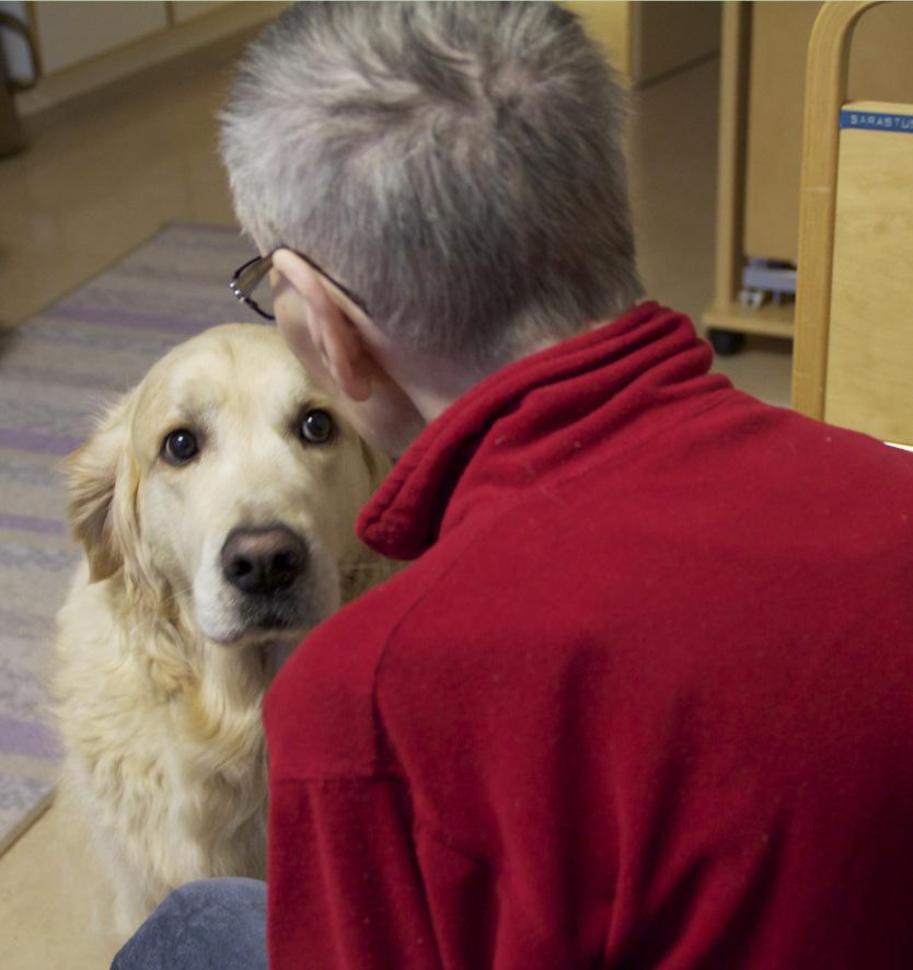 Lempeän ja rauhallisen luonteen omaava Luka-koira on tullut tervehtimään Sarastuksessa asuvaa Meeriä.