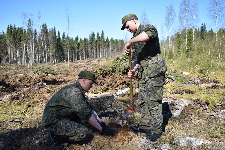 Rajajääkärit Santeri Volotinen ja Joonas Hannonen pitivät juhtametsikön istuttamista hienona tapahtumana.