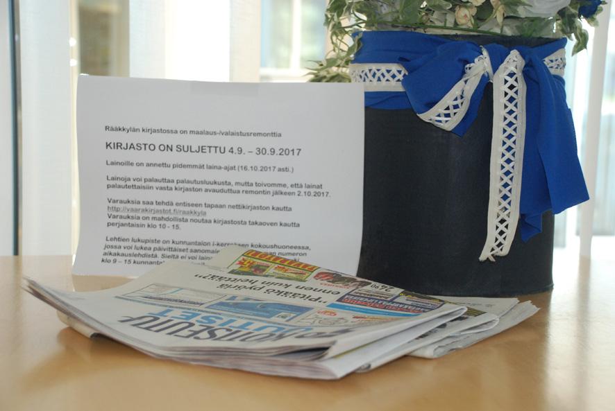 Lehtiä luetaan syyskuun ajan kunnantalolla väliaikaisessa lukusalissa.