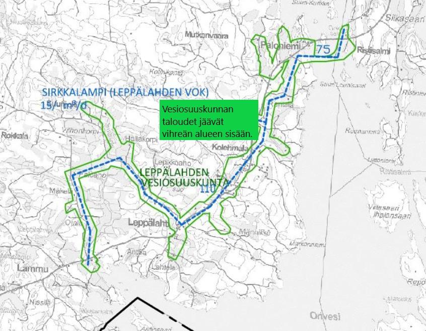 Vesiosuuskunnan alue näkyy kartassa vihreällä.