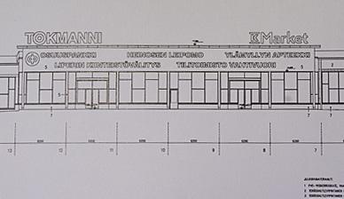 Liikekeskuksen piirustuksissa havainnollistetaan, miltä kiinteistö ulkoisesti näyttää.