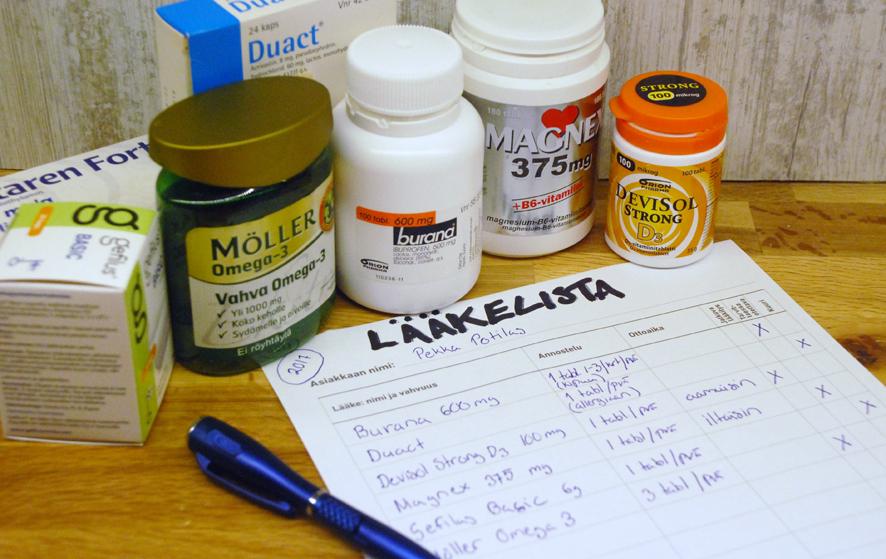 Lääkityslista on jokaisen itse laadittava apuväline, jota tarvitaan erityisesti akuuttia hoitoa vaativissa tilanteissa.