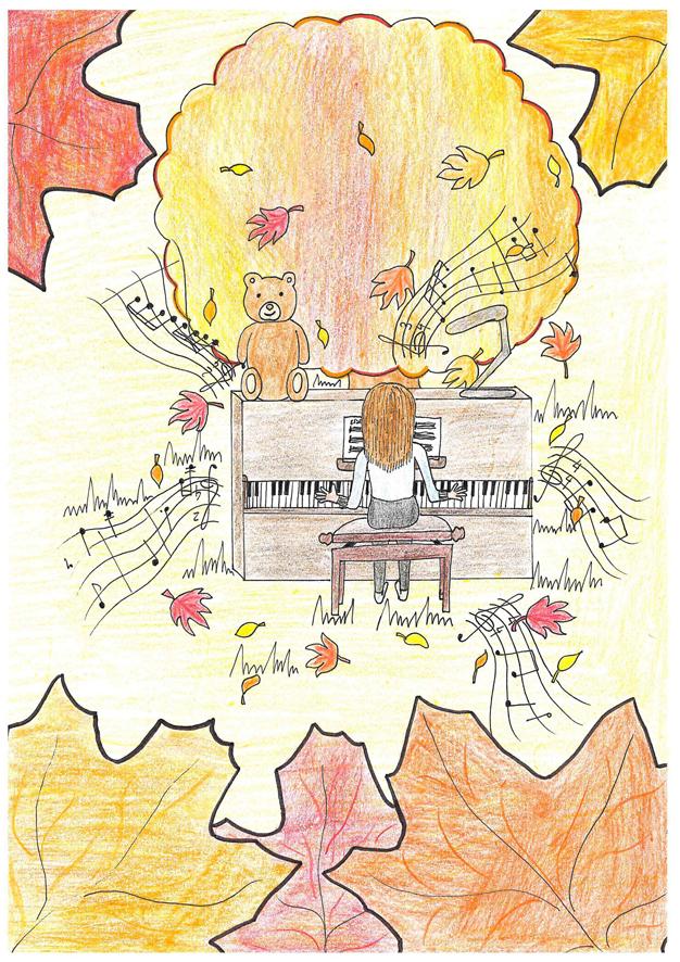 Kiira Halosen voitokas työ kuvastaa musiikin iloa ja värien loistoa.