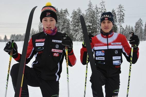 Paavo Pakarinen ja Jesse Piiroinen nauttivat talvisista keleistä.