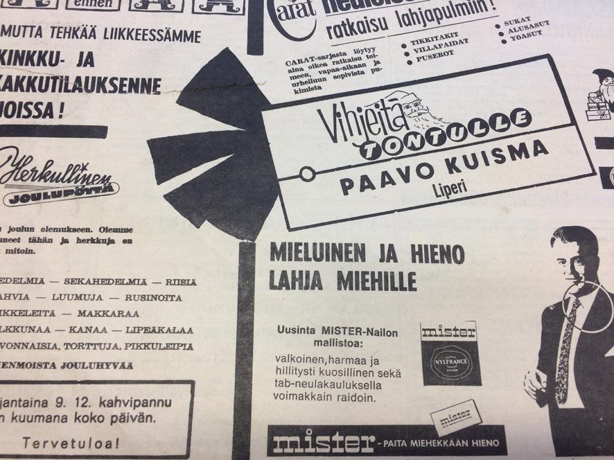Vihjeitä tontulle tässä mainoksessa.  (Kotiseutu-uutiset 9.12.1966)