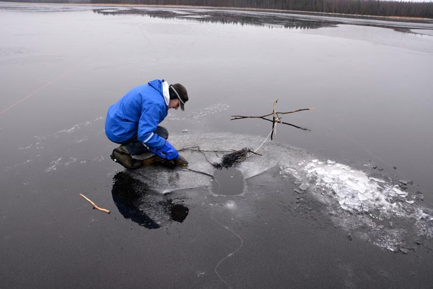 Esa Hirvonen kalastuspuuhissa. Kuva: Henrik Rantanen