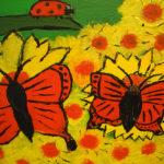 """Heta Mustosen värikkäässä maalauksessa on iloinen tunnelma. """"Kuvan tarkoituksena on olla iloinen ja onnellinen, saada muut hyvälle tuulelle"""", Mustonen avaa työnsä sanomaa."""