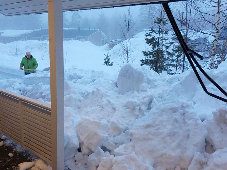 Impivaarojen pihassa ihmetellään, mitä lumivuorelle pitäisi tehdä.
