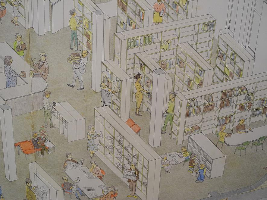 Näyttelyn erikoisin taulu on läpileikkaus kirjastosta vuodelta 1981.